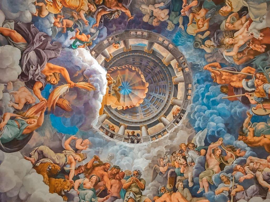 soffitta sala dei giganti nel palazzo Te a Mantova