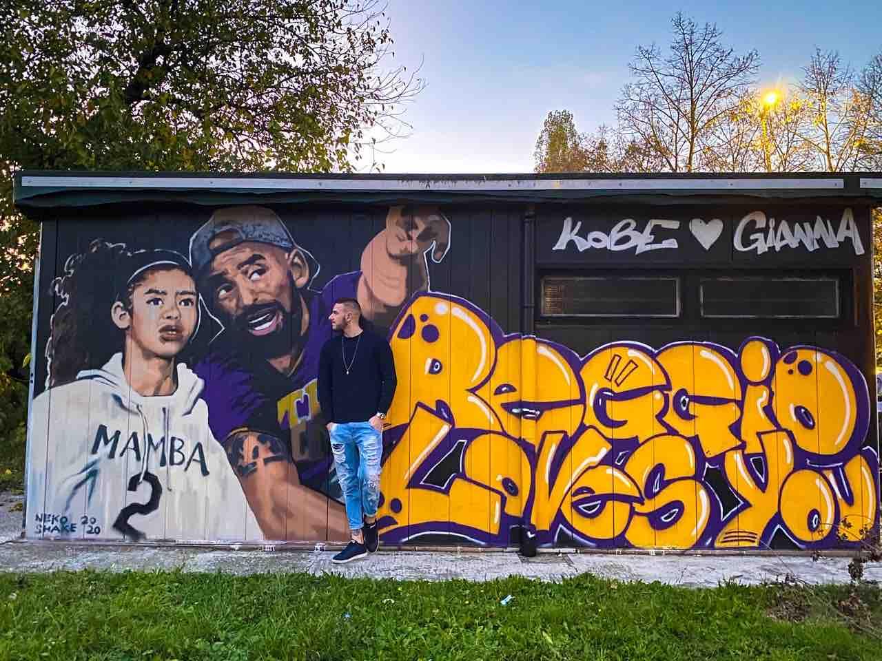 Murales di Reggio Emilia Kobe e Gianna Bryant