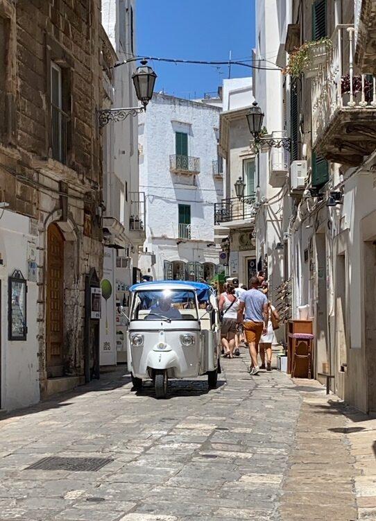 apecalessino attraversa un vicolo del centro storico di Monopoli in Puglia