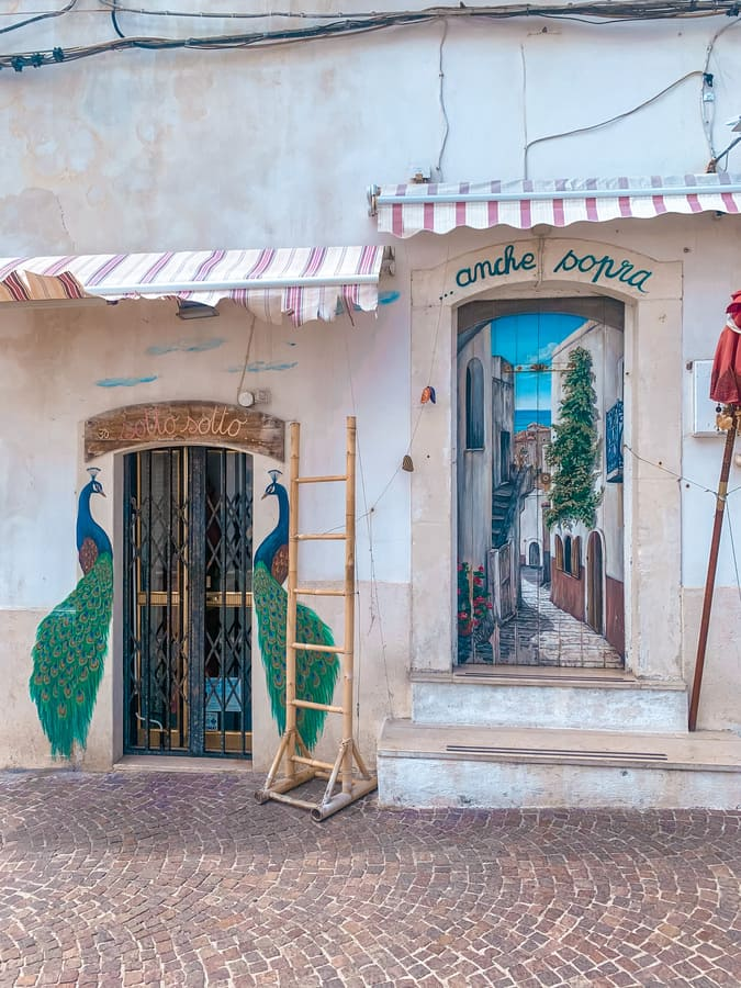 Bellissimo murales di un negozio instagrammabile di Peschici con pavoni e scorcio sulla città